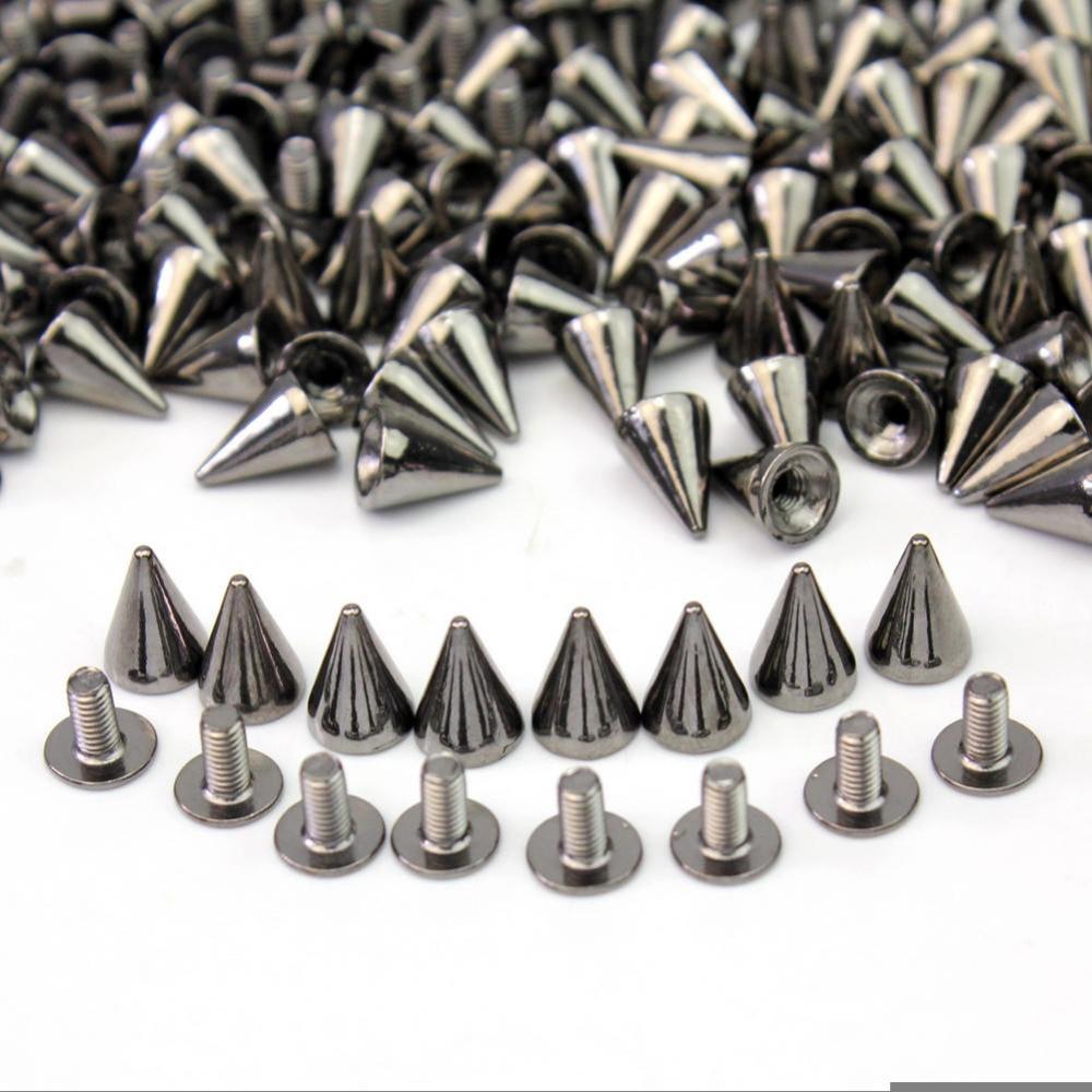 50 Punk Spike Rivet Screw DIY Metal Cone Studs Leathercraft Nailhead Spots