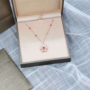 Image 4 - SLJELY אמיתי 925 כסף סטרלינג זירקון פרח תליון שרשרת עם ירוק/אדום CZ לנשים המפלגה מעודן יוקרה מותג תכשיטים