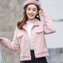 Woolen Coat Female Short Korean Style 2019 New Spring Solid Color Lamb Small Woman Pink Good Quality Arrival