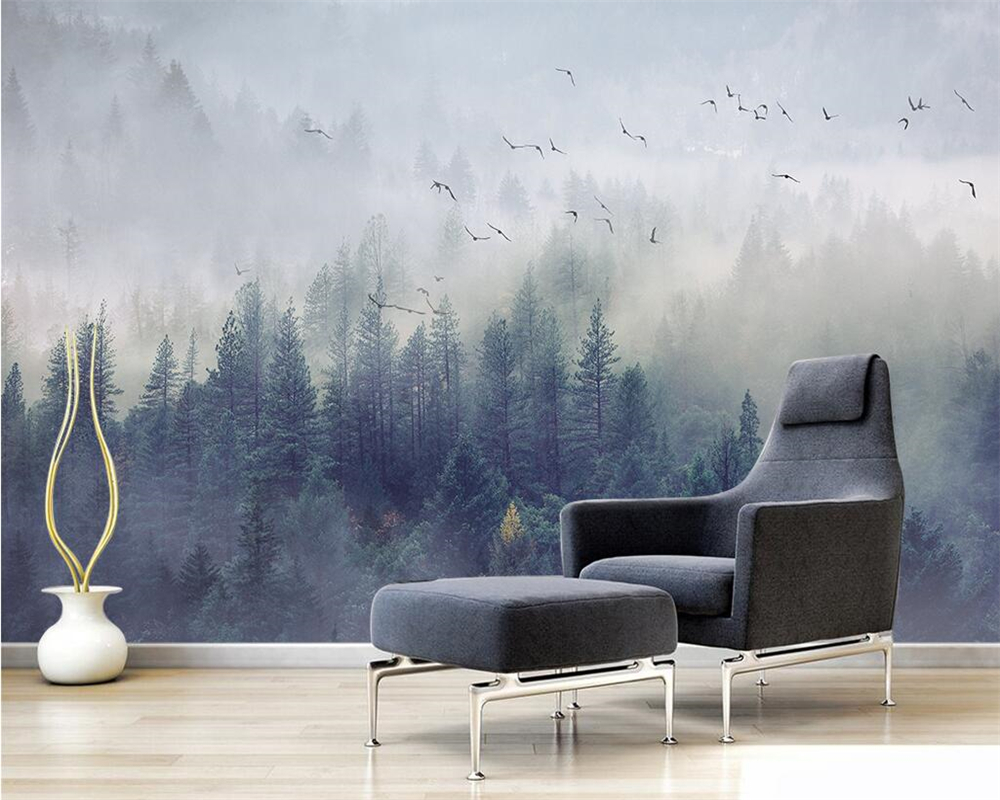 Beibehang Custom Wallpaper Nordic Fresh Forest Landscape Design TV Background Wall Living Room Bedroom Mural 3d Wallpaper Photo