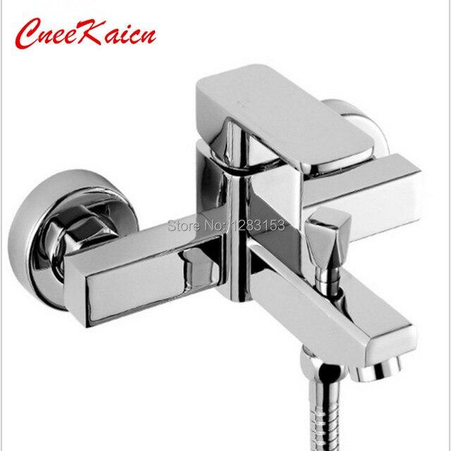 CK quadrado chuveiro do banheiro torneiras termostato banho de torneira misturadora lavatório água da torneira Wall Mounted Single Handle