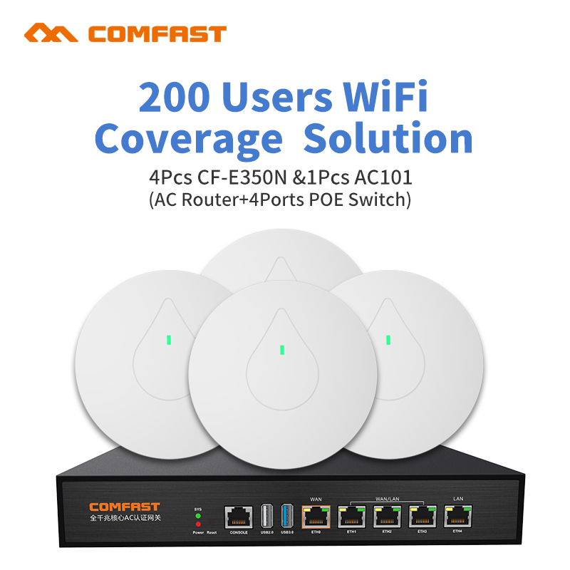 High power Wireless Ceiling AP 4pcs CF-E350N + 1pcs Poe Swithc AC Router Seamless Wifi Mult Wan indoor Wifi Cover solution comfast full gigabit core gateway ac gateway controller mt7621 wifi project manager with 4 1000mbps wan lan port 880mhz cf ac200