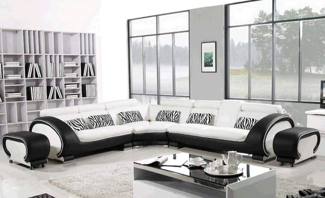Free Shipping Large  L Shaped Genuine Leather Hard Wood Frame Corner leather sofa Classic Black & White modern Sofas L8065-3