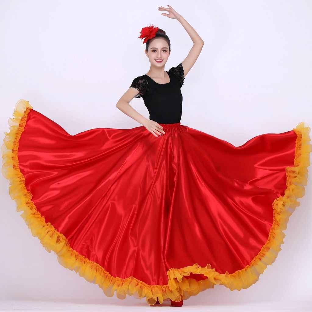 Jupe Flamenco Costumes de danse espagnole pour les femmes jupe de danse du ventre jupe de danse Flamenco livraison directe