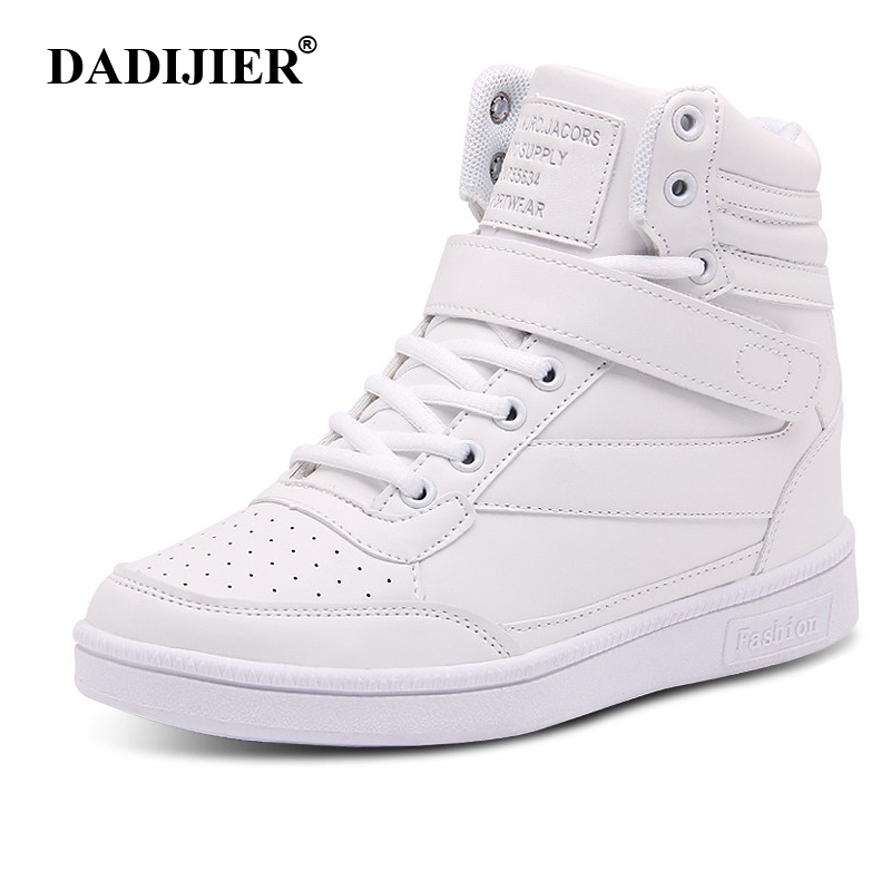 2018 Women Casual Shoes Espadrilles Platform Hidden Increasing Sneakers PU Leather Shoes Woman High Top White Shoes ST213