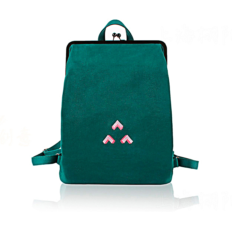 Casual 2019 New Design Women And Men Pattern Embroidered Canvas Backpack Metal Hasp Buckle Black Blue
