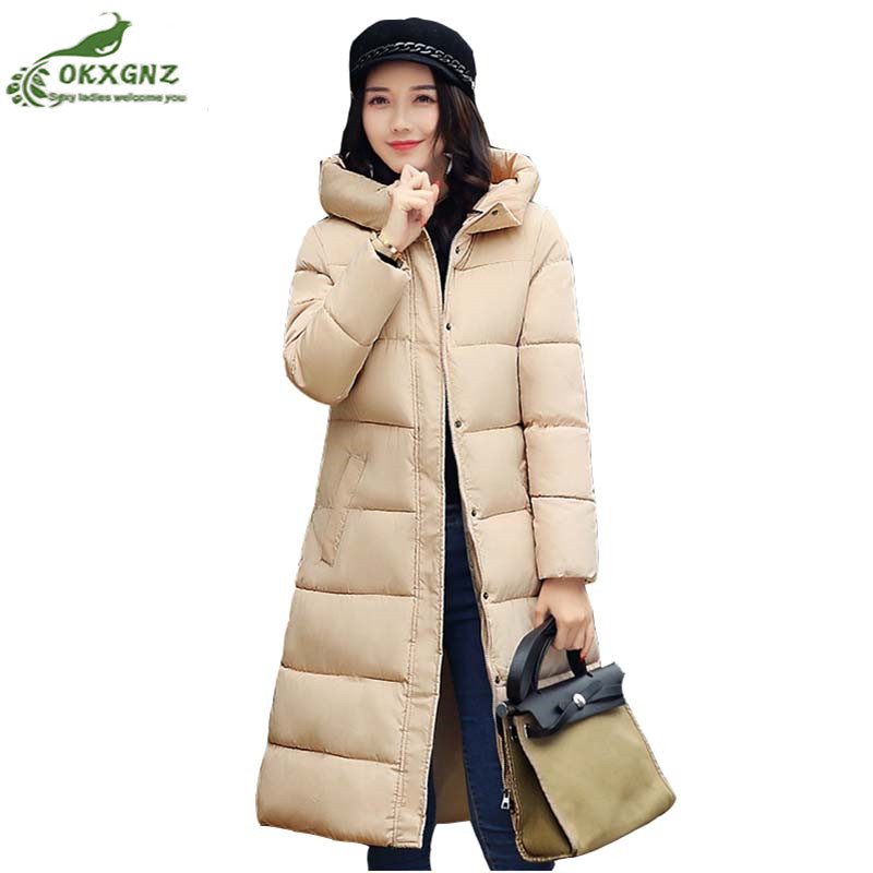 Winter new women Down cotton Outerwear medium long thickening cotton warm jacket coat high-end fashion large size coat OKXGNZ free shipping ems 2015 new women ladies winter down coat black white coat medium long down fashion winter outerwear personalized