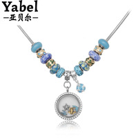 Women Jewelry Silver Plated Personalised Murano Glass Beads Bracelet&Necklace & Pendants Chain for women DIY jewelry PN015