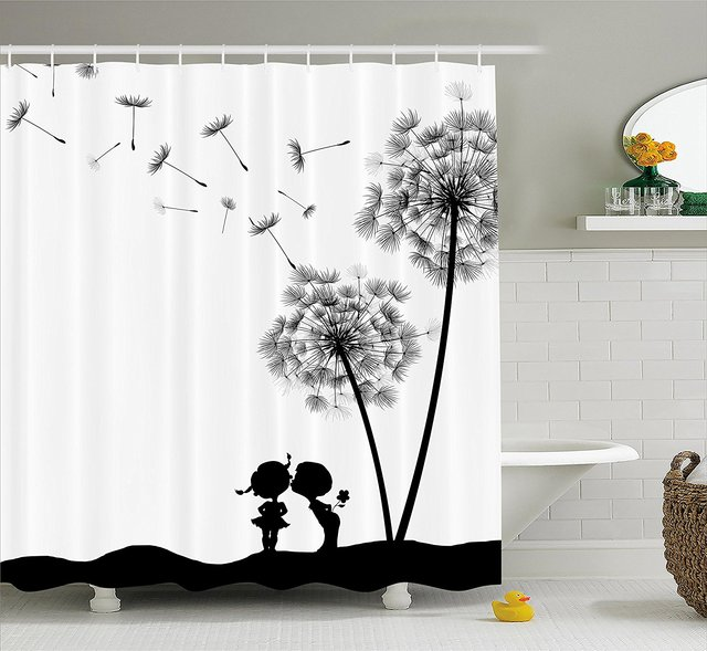 Memory Home Shower Curtain Vintage Classic Dandelions Flowers Cute Lovers  Print Fabric Bathroom Decor With Hooks