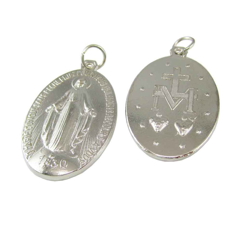 50pcs of Alloy Vintage Miraculous Medal Blessed Mary Pendant with Split Ring