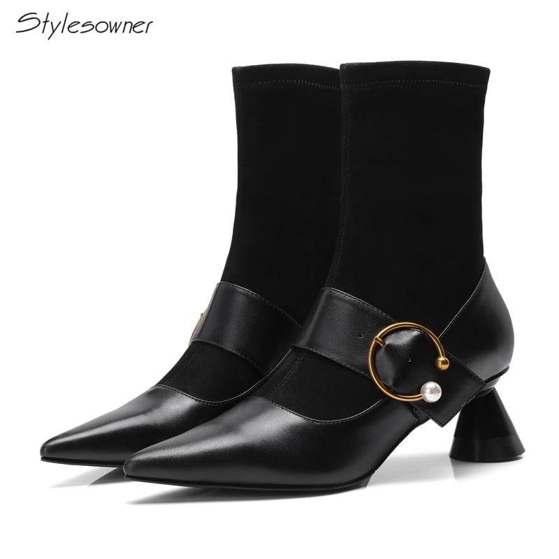 e47a1da2d02 Tacón Stylesowner Zapatos Metal Calcetín Punta Las Alto De Extraño Tobillo  Mujeres Negro Dama Patchwork Sexy Botas Defilè SS4p8wxq