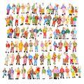 Comercio al por mayor 100 unids Color Mezclado Pintado Modelo Gente Cifras de Pasajeros Escala 1: 87 Hacer el Modelo más Vivo fácil para describir