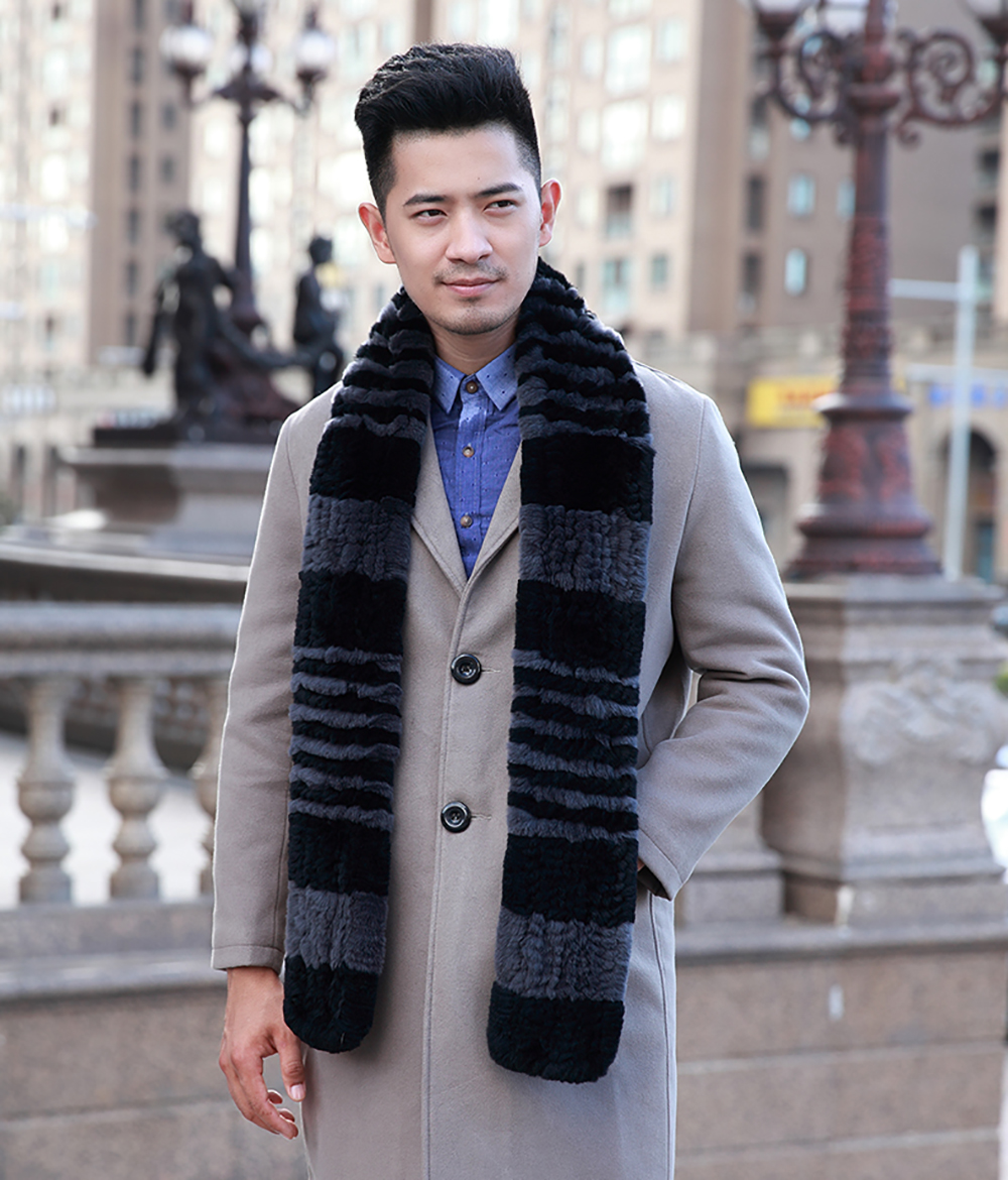 [YCFUR] Winter   Scarves   Man Natural Rex Rabbit Fur   Scarf   Men Winter Real Fur Scarfs   Wraps   For Men Dad   Scarf
