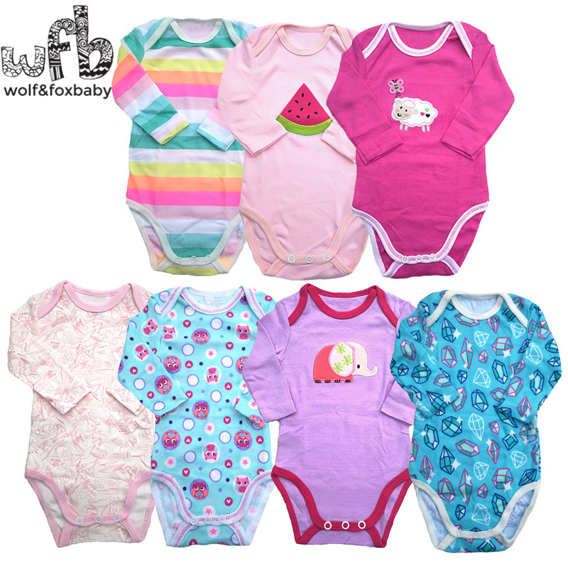 Retail 5pcs/pack 0-2yrs Long-Sleeved Baby Infant Cartoon Bodysuits For Boys Girls Jumpsuits Clothing