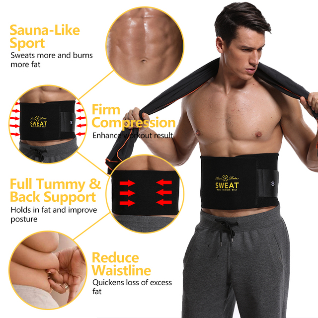 VASLANDA Men Neoprene Waist Trainer Corset Slimming Shaper Tummy Control Girdles Workout ABS Trimmer Fitness Sweat Belt 2