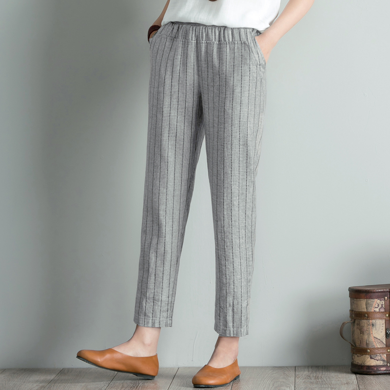 Spring Summer Women Striped Elastic Waist Pants Plus Size 4XL High Waist Casual Harem Pants Ankle-length Boho Trousers Pockets