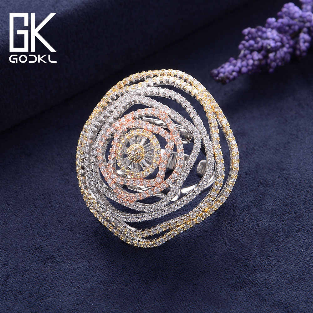 GODKI Luxury Winding Lines Cubic Ziron Engagement Nigerian Bridal Statement Finger Rings For Women Wedding Trendy Jewelry 2018
