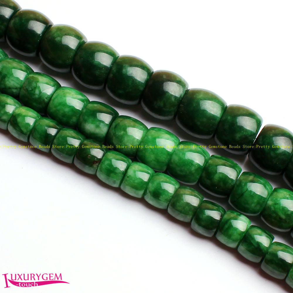 Free Shipping 6x8mm-12x14mm Smooth Natural Green Jades Stone Drum Shape Gems Loose Beads Strand 15 DIY Jewellery Making wj354