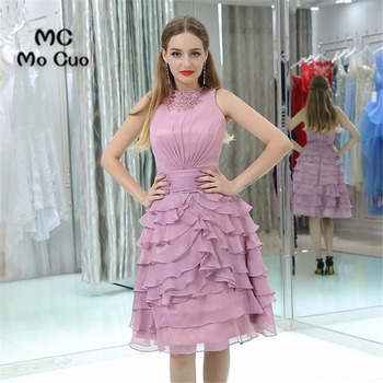 2017 New homecoming dress Knee Length cocktail party dress Tiered Chiffon Off Shoulder Party Dress short homecoming dress
