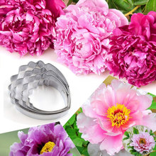 4Pcs Heart Peony Flower Mould Stainless Steel Cutter Fondant Mold Sugar Craft Cake Decorating Tools