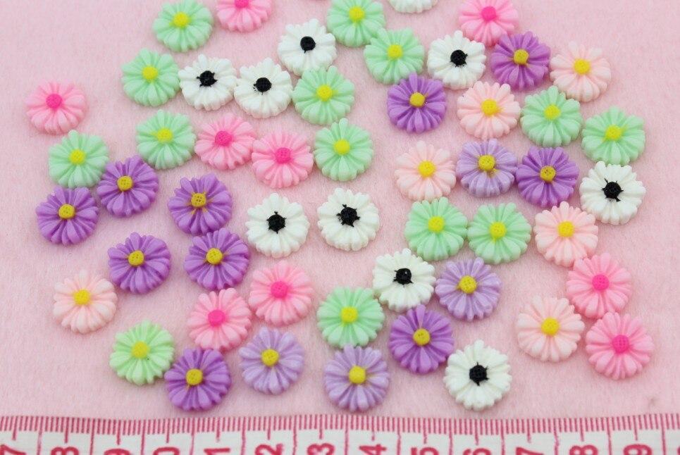 250 шт decoden мини ромашка mumflower пластиковые цветочные кабошоны cab-12 мм смешанные цвета