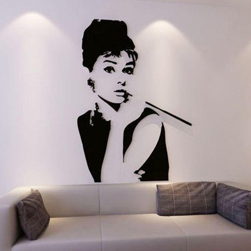 Autocollants acryliques classiques excellente actrice Hepburn Design décoration murale autocollant salon magasin décor