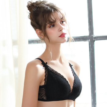 PAERLAN Small Breast Seamless  Push Up Sexy Lace Floral Bra Wire Free Retractable Chest Adjustable Upper Underwear Women 3/4 Cup 1