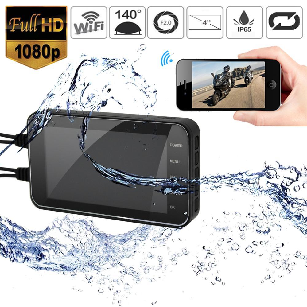 Cámara HD a prueba de agua para motocicleta grabadora de vídeo de conducción con lente Dual frontal y trasera, WIFI, 1080P, 4 pulgadas, DVR, cámara de salpicadero, grabación FHD para Moto