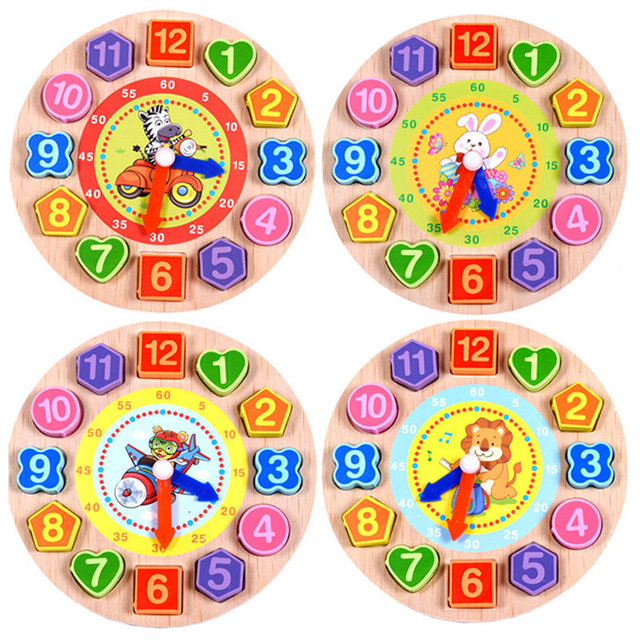 Wooden Toys Baby 3D Puzzle Early Learning Clock Animal Puzzle Lacing Beads Jigsaw Puzzles For Children 2-4 Years ME2622H