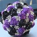 Handmde Purple Black Diamond Pearls Wedding Bouquet Satin Ribbon Artificial Roses Flowers Luxury Bridal Wedding Bouquet W224