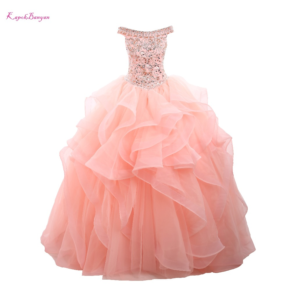 7cdcc307179 Luxury Pink Prom Gown Organza Ball Gown Dress Party Pink Quinceanera  Dresses 2018 vestidos de 15