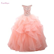 Real Photo Luxury Pink Organza Off the Shoulder Ball Gown Quinceanera Dresses 2017 Custom made Sweet 16 Dress Vestido De 15 Anos