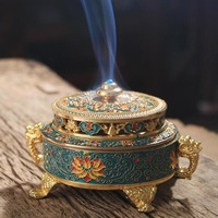 plating alloy Incense burner enamel color Tibetan censer antique fragrance living room household colour enamels Aroma Burner