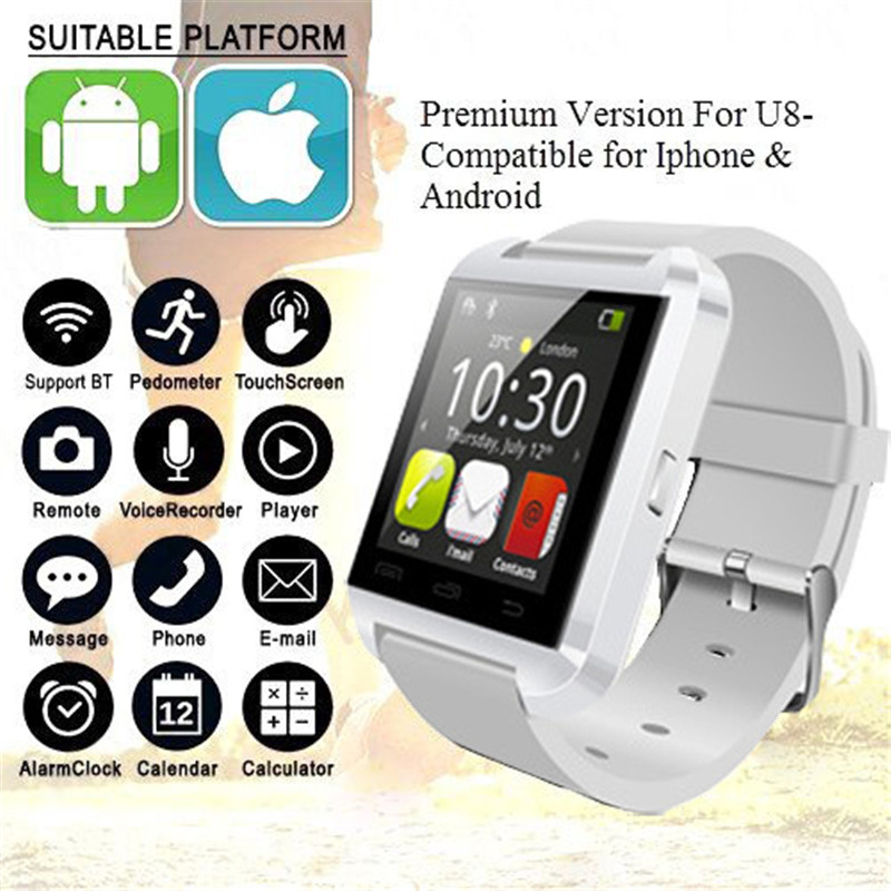 New Fashion U8 Bluetooth Smart Watch Clock Sync Notifier With Passometer Touch Screen For Women Men цены онлайн