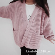 2019 Girls Sweater Toddler Kids Baby Girls Outfit Clothes Button Knitted Sweater Kids Cardigan Coat Tops for Girl clothing 1-7Y 2018 infant baby girls embroidered sweater girls autumn knitted sweater children kids tops girls clothes cardigan winter tops 10