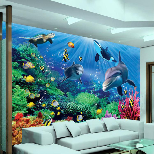 3D Wall Mural Underwater World Large Wallpaper Interior Art Decoration Cute  Dolphin Wallpaper Bedroom Hallway TV