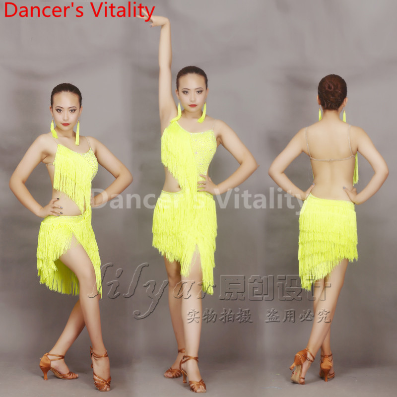2018 New Latin Dance Competition Costumes Rhythm Salsa Cha Cha Tassels Tango  Dress Sexy Women Latin 7759c34b804a