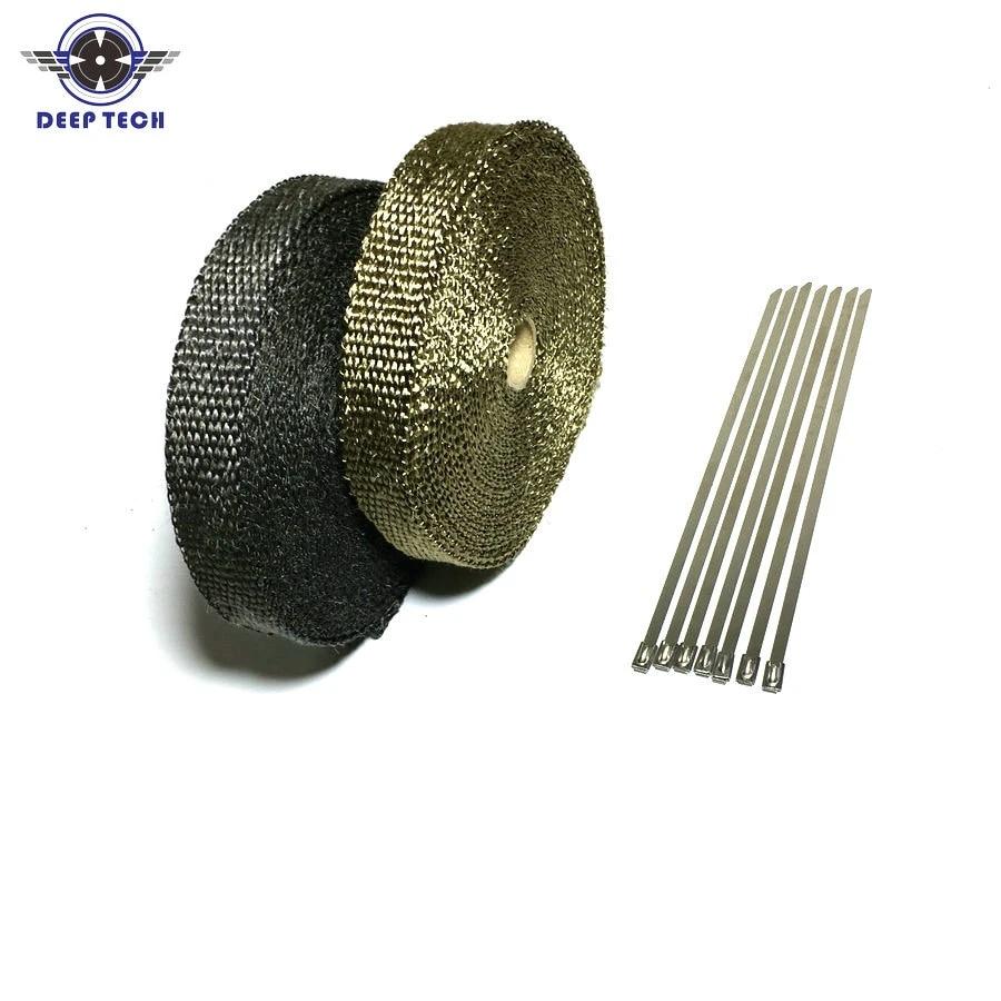 10m exhaust muffler pipe tape heat resistant wrap black exhaust wrap auto motor exhaust manifold heat shield wrap