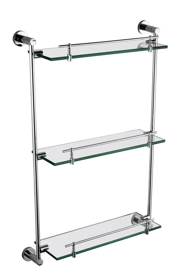 Modern Bathroom Accessories Products Solid Brass Chrome Finished three Glass shelf GB012G 3