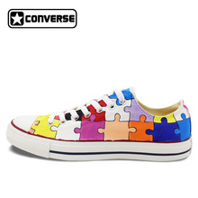 Hand Painted Shoes Low Top Converse All Star Custom Design Puzzle Canvas Sneakers Unique Christmas Gifts Men Women
