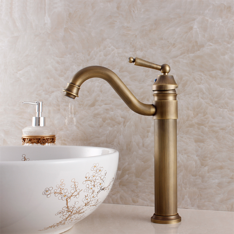 Fashion bathroom antique faucet copper brass basin faucet bathroom counter basin beightening single hole hot and