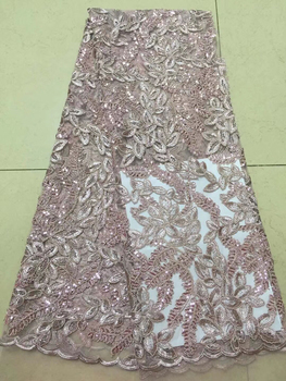 Pink African Lace Fabric 2019 High Quality Cotton Lace With Sequins French Mesh Tulle Lace Fabric For Dress Sequin Fabric CD3209