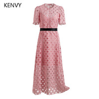 KENVY Brand High End Luxury Women S Summer Pink Embroidery Casual High Waist Long Lace Dress