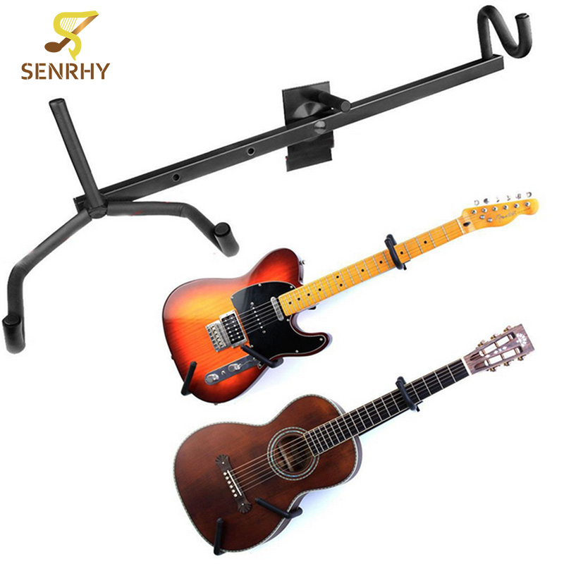Senrhy 60cm Iron+Plastic Black Electric Guitar Wall Hanger Horizontal Acoustic Guitars Holder Bass Stand Rack Hook Accessories wall mount guitar hanger hook holder keeper auto grip system lock round base for electric acoustic guitars string instrument