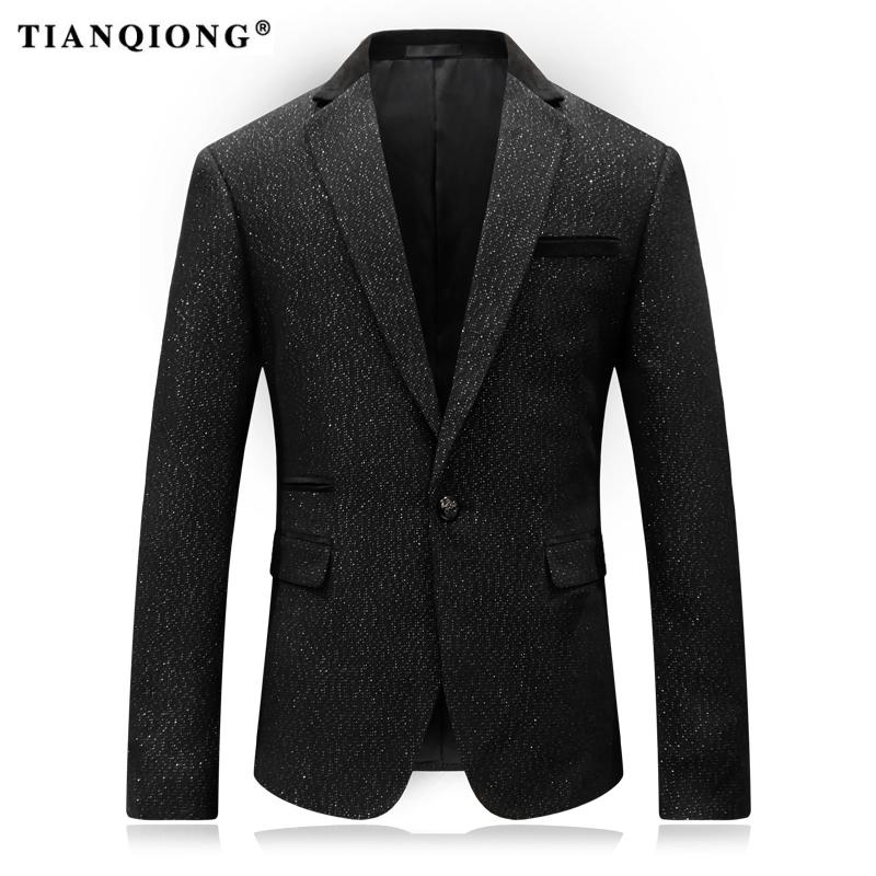 TIAN QIONG 2017 new Fashion brand blazers men suit jacket casual slim fit prom groom business host wedding printing suit