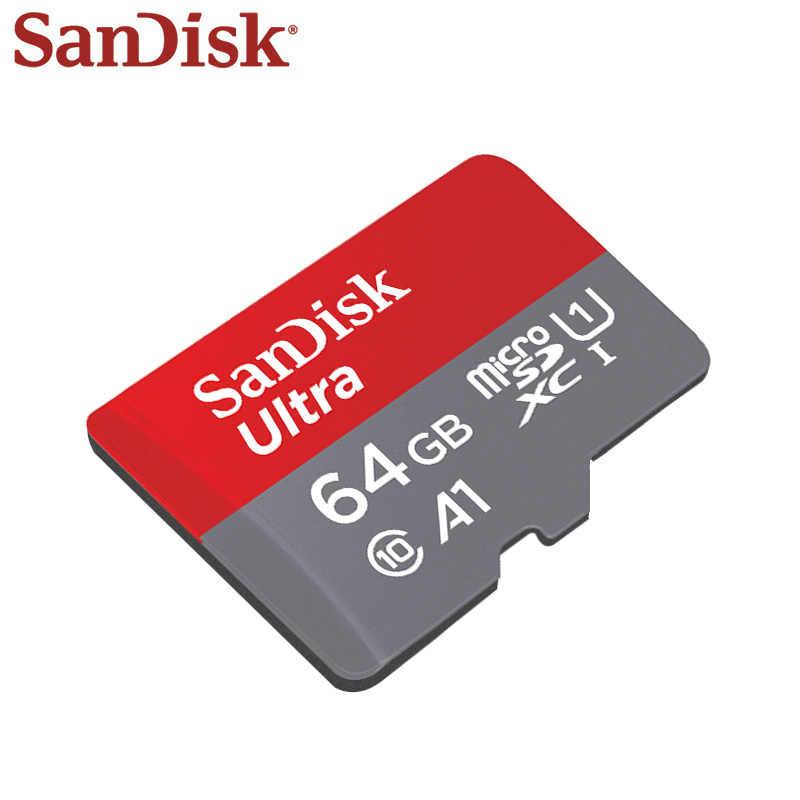 100 الأصلي سانديسك بطاقة الذاكرة 64GB SDXC ماكس قراءة سرعة 90 متر/الثانية مايكرو SD بطاقة A1 الدرجة 10 UHS-1 فلاش بطاقة الذاكرة مايكرو