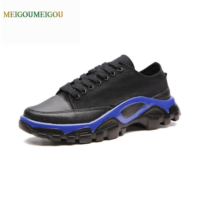 MEIGOUMEIGOU Cool Design Mixed Colors Outsole Casual Shoes Men Shallow Patchwork Men Vulcanize Shoes Big Size Lace-up Shoes Men simple smiley face and lace up design men s casual shoes