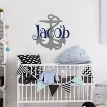 Cartoon Anchor Name Wall Sticker Art Decal Children Baby Nursery Decals Cut Vinyl Stickers C63