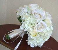 2015 New Style Top Quality Hand Made White Rose Hydrangea Flower Bridal Bridesmaid Wedding Bouquet Home