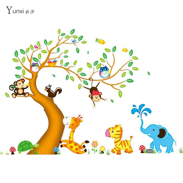 135*197 Animal Jungle Monkey Tree Owl Large Removable Wall Decal Nursery  Room Decor Muraux Part 86